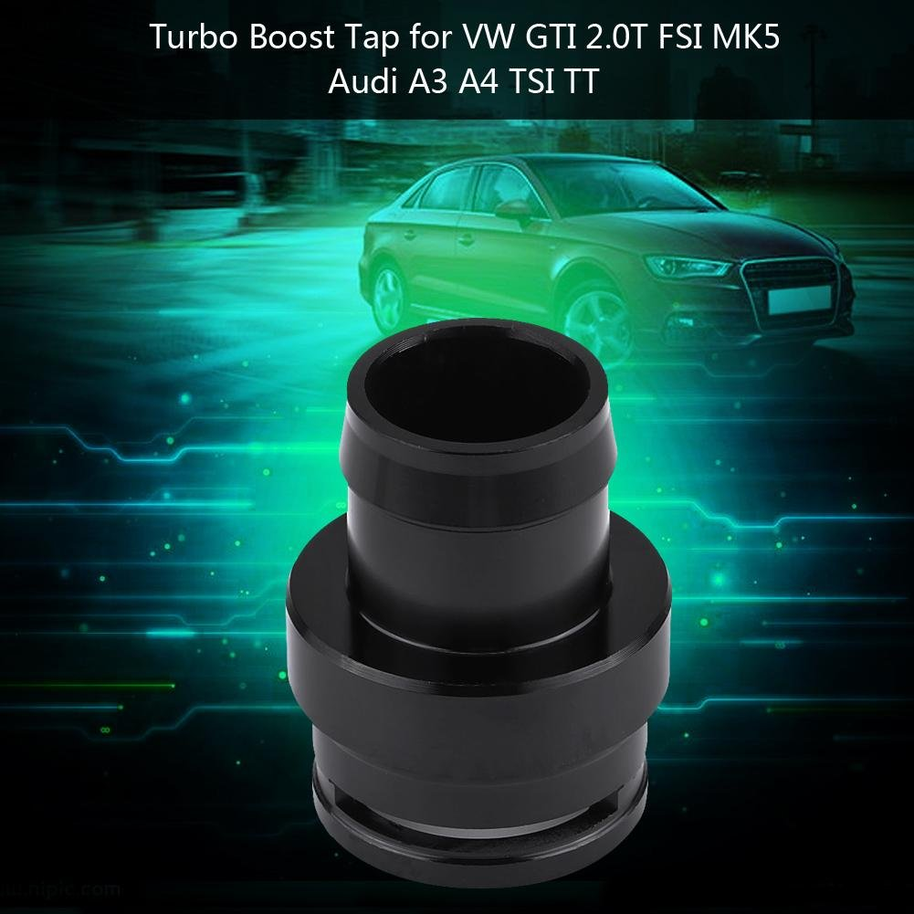 Turbo Boost Adapter, Turbo Boost Tap de Aluminio Adaptador de Vacío para GTI 2.0T FSI MK5 A3 A4 TSI TT Negro: Amazon.es: Coche y moto