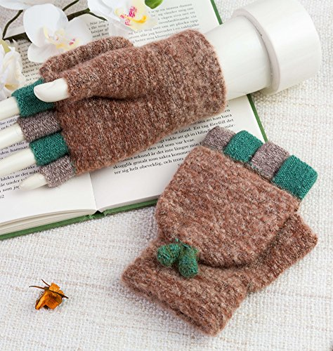 Winter Wool Knitted Gloves for Women Warm Fingerless Mitten Gloves Fold Back Pocket