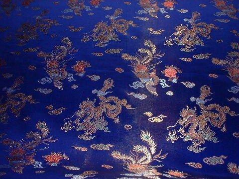 Amazon.com: Royal Blue Oriental/Chinese DRAGON Silk Dress Brocade ...