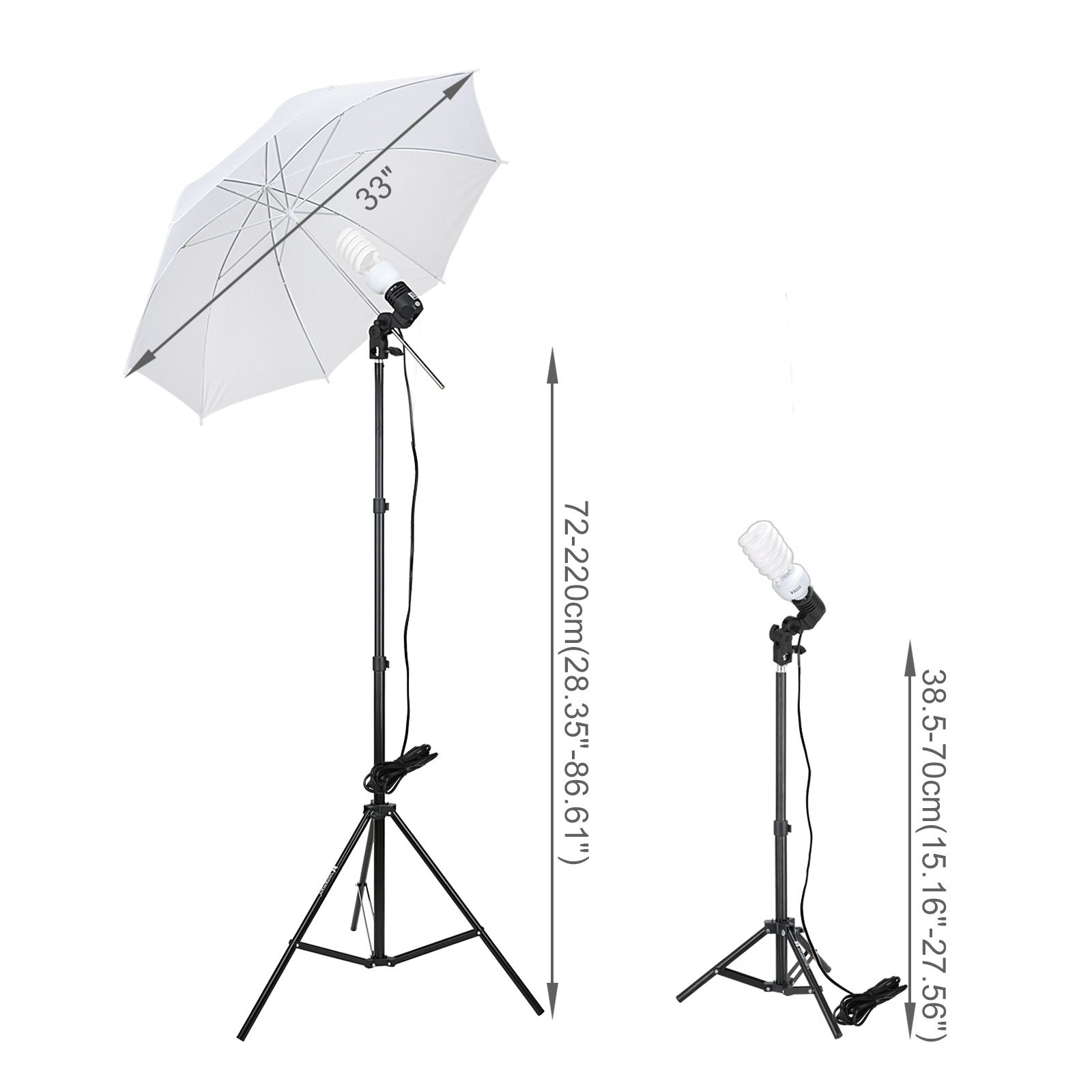 Voilamart Photography Umbrella Lighting Kit Continuous Lighting Soft Umbrella Kit 600W 5500K Day-Light Soft Umbrellas for Portrait Photography Studio and Video Shooting