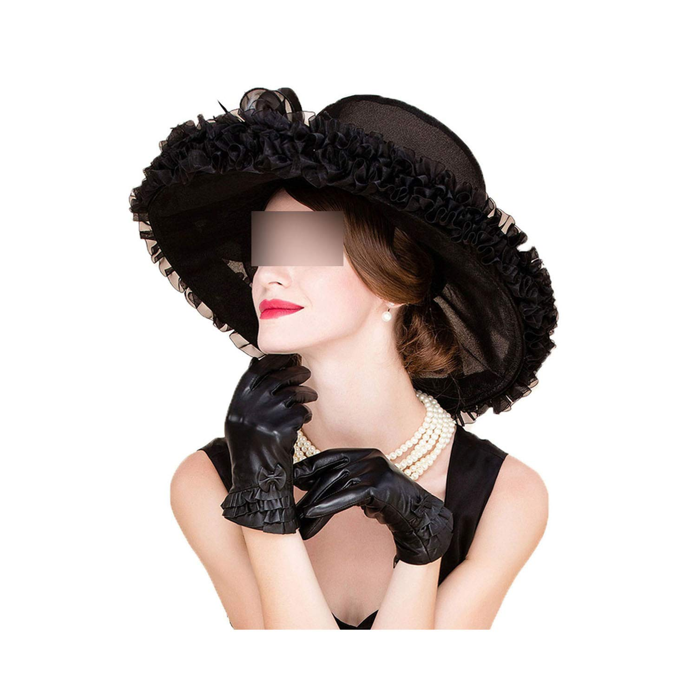 Church Hats Black for Women Wedding Formal Fedoras Large Wide Brim Bowknot Kentucky Derby Hat,Black