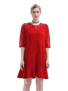 Cuello del verano expuesto en Europa y América, mini hojas de loto edge vestidos rojos