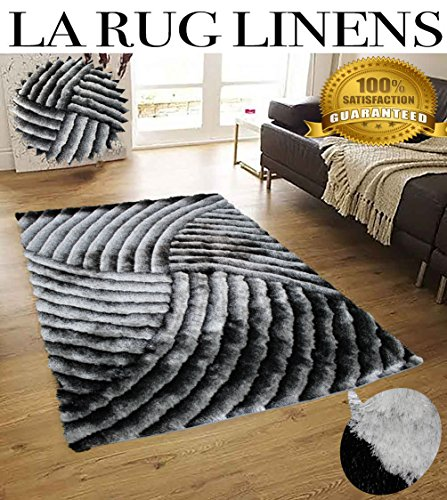 New Shimmer 5x7 Shag Shaggy Modern Contemporary Black White Gray Rug Carpet Area Rug Simple Lines Design Viscose Yarns Hand Tufted Two Toned 3D Pattern Bedroom Living Room SAD 259 Black White (Shag Rugs On Sale)