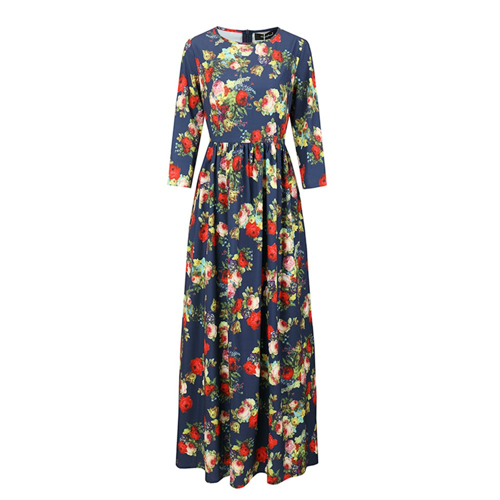 Amazon.com: Women long Dress hot sale 2018 Spring Summer Russian Style Print Dresses Long Floor-Length Elegant vestidos as picture S: Kitchen & Dining