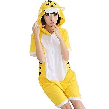 487ad0c82b5 Amazon.com: IFLIFE Onesie Shorts Pajamas Animal Costume Adult Hooded ...