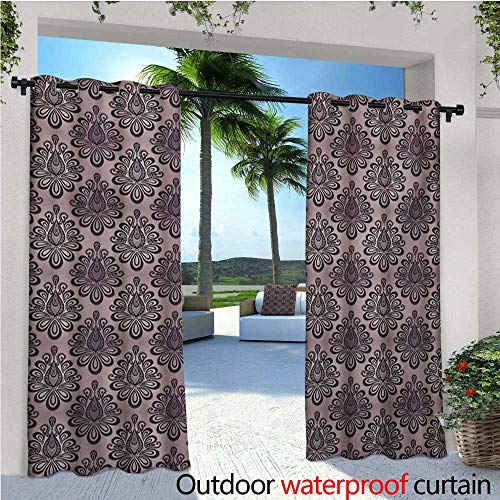 (homehot Traditional Balcony Curtains Damask Style Grey Motifs with Little Dots and Curly Leaves Vintage Art Outdoor Patio Curtains Waterproof with Grommets W108 x L84 Mauve Charcoal Grey)
