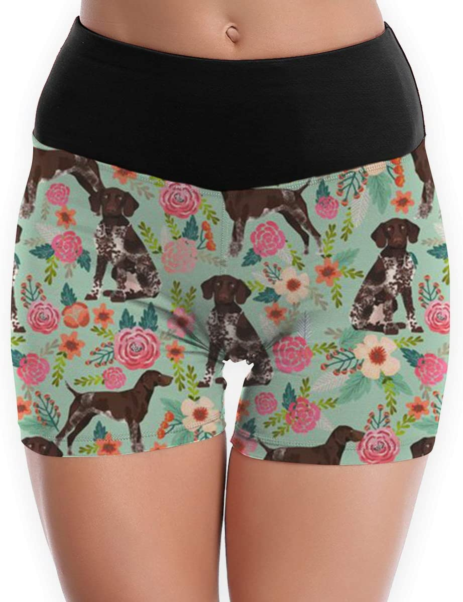 SYAyeah German Shorthaired Pointer and Floral Beautiful Women Workout Yoga Shorts Tight Yoga Pants Tummy Control