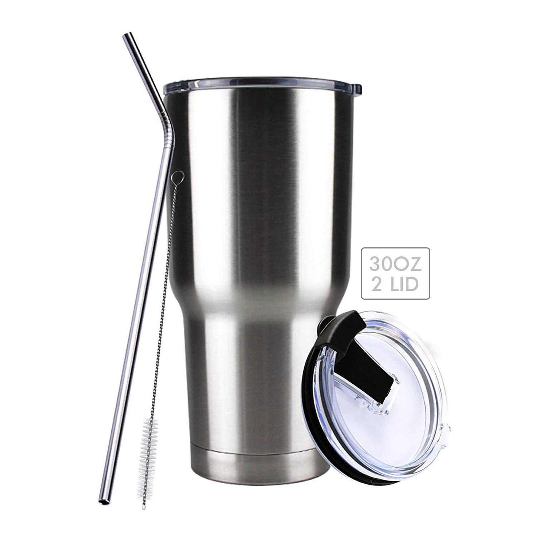 タンブラーVacuum Insulated Ramblerコーヒーカップ30ozステンレススチール二重壁旅行フラスコMug with 2 Splash Proof蓋、1ストロー、1パイプブラシby glleen   B07BK9WKRQ