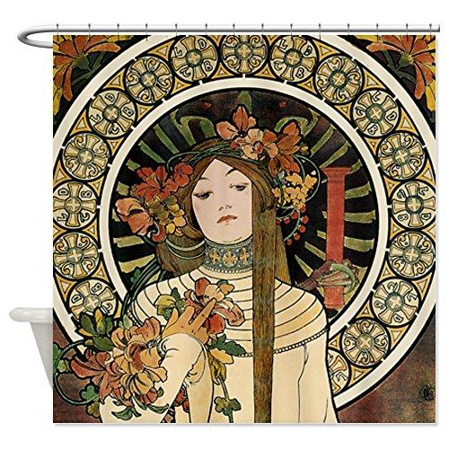 CafePress - Vintage Art Nouveau Alfonse Mucha a Trappistine Po - Decorative Fabric Shower Curtain
