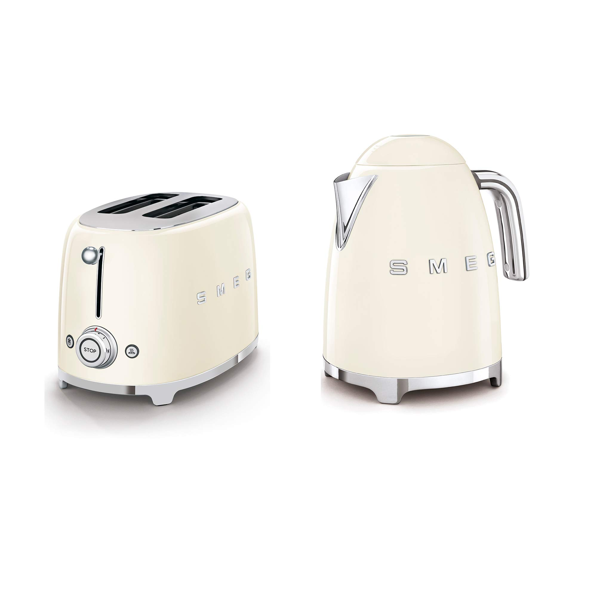 SMEG 2-Slice Toaster & 1.7-Liter Kettle in Cream