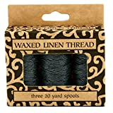 Lineco Waxed Genuine Linen Thread, 20 yards, Pack of 3 Spools: Black (BBHM209)