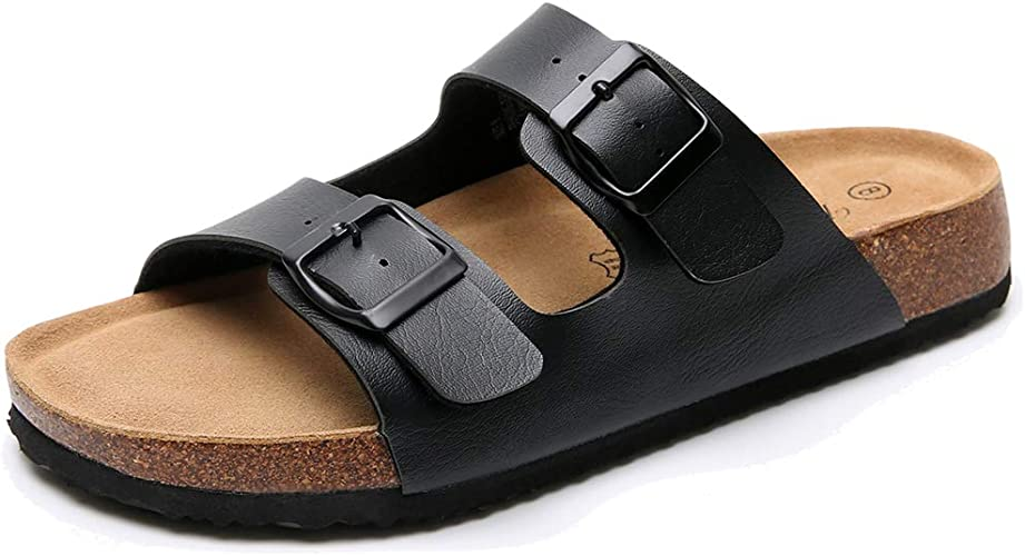 Real Fancy Women's Leather Flat Cork Sandals with Double Buckle Soft Cow Suede Open Toe Summer Slide Shoe
