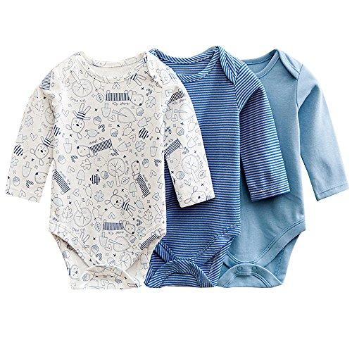 JISEN Baby Mädchen (0-24 Monate) Body blau blau 6-9 Monate