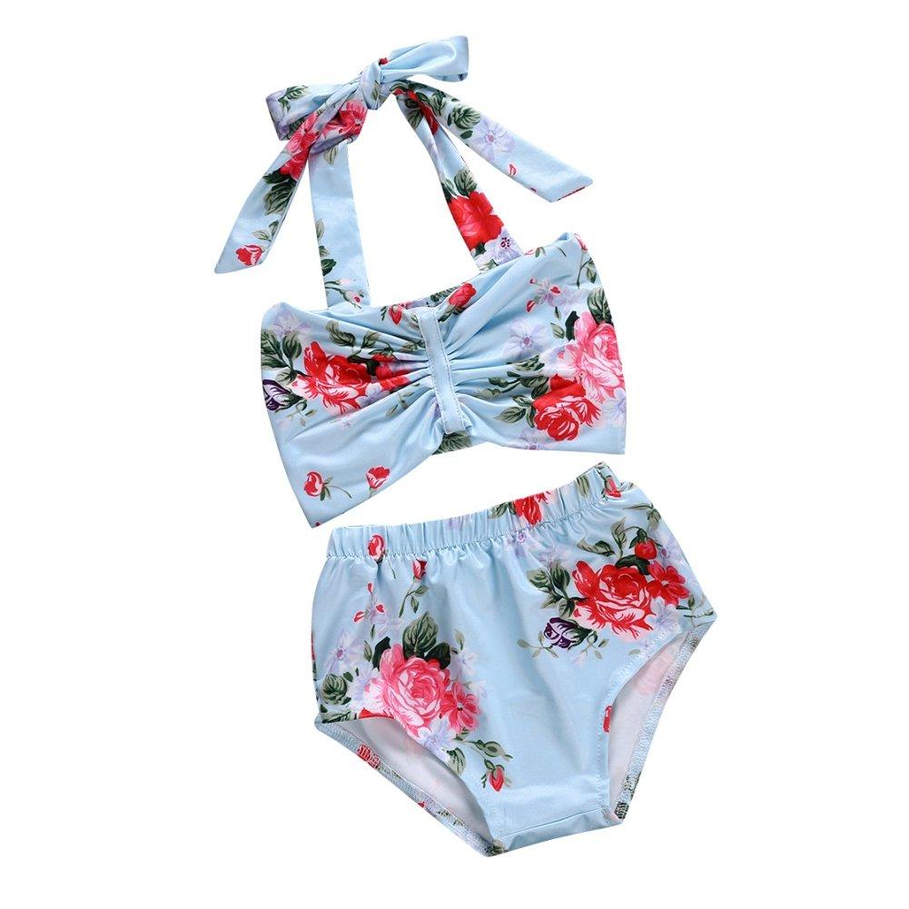 Qlan infante Baby ragazza costumi da bagno floreale abito Halter Bowknot tubo superiore breve Bottoms(2 Pieces)