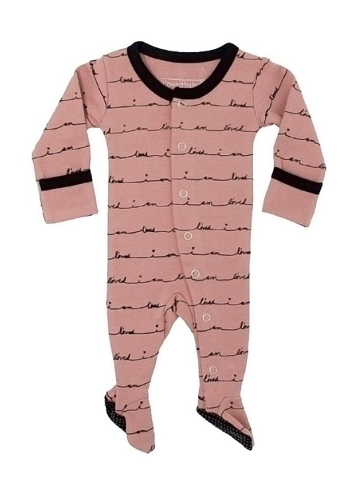 L'ovedbaby Unisex-Baby Organic Cotton Footed Overall (3-6 Months, Mauve I Am L'oved)