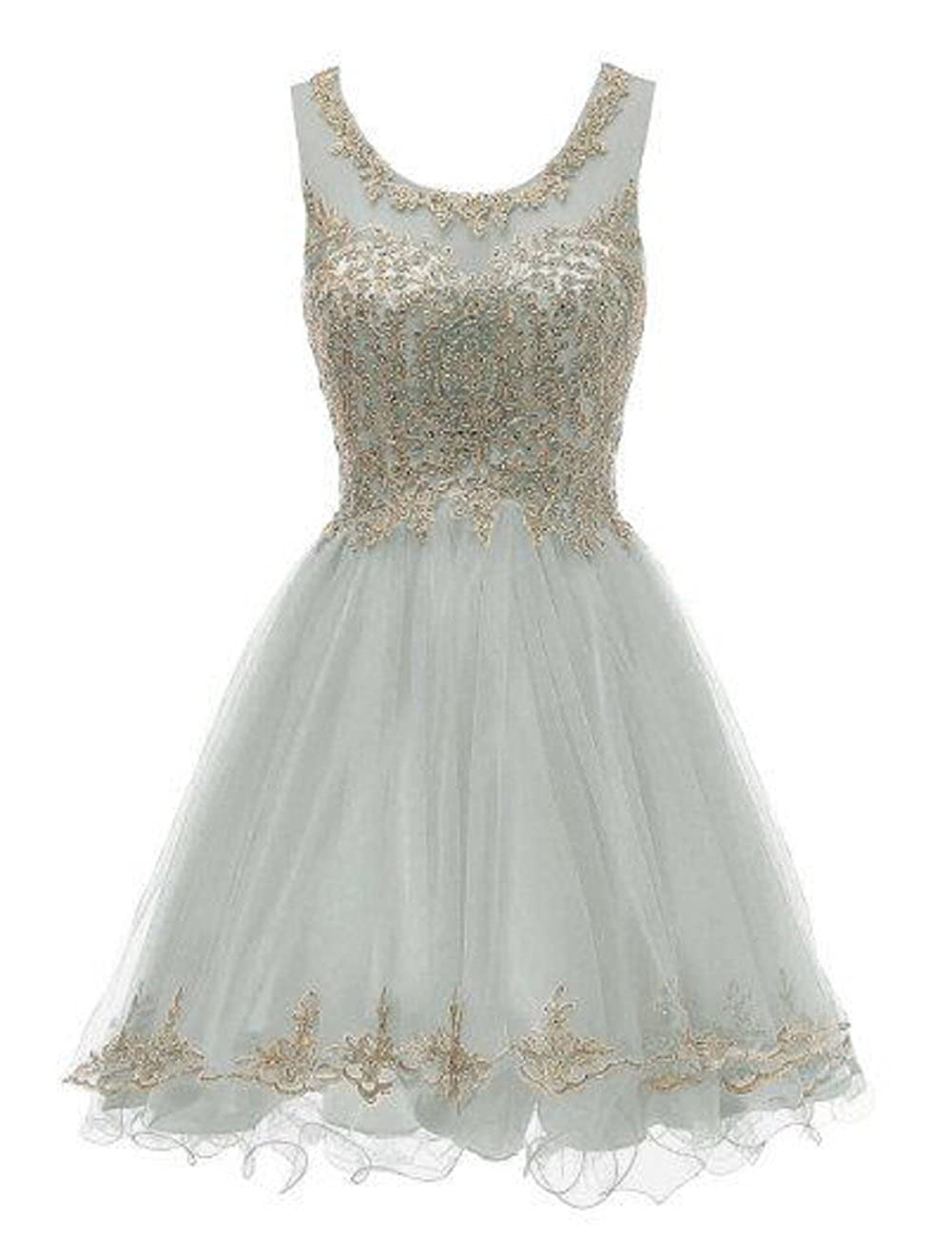 Grey1189 SHANGSHANGXI Lace Appliques Short Prom Dresses Tulle Beaded Homecoming Party Dress