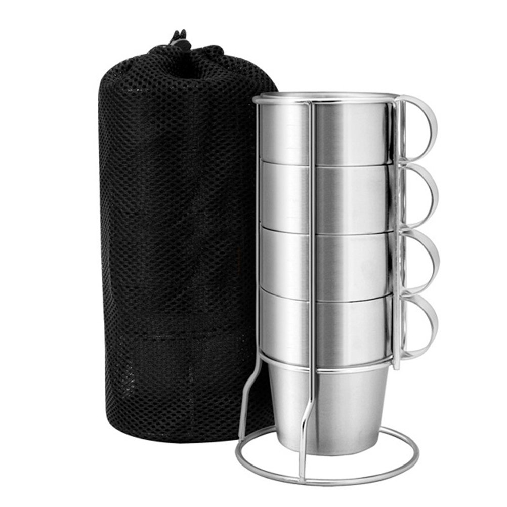 BESTONZON 4 Pcs Cup Set of Stainless Steel Mugs Double-Layer with Stand and Mesh Bag for Coffee Milk