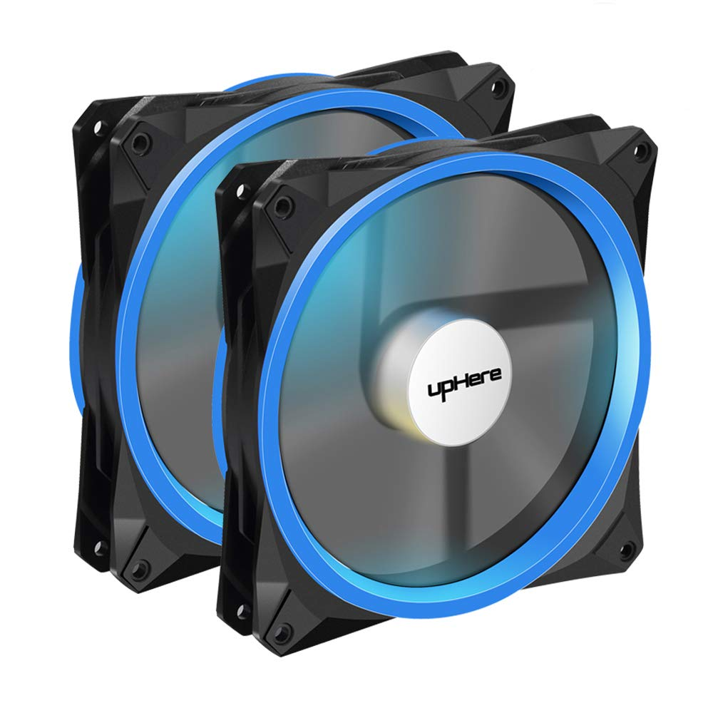 upHere 140mm PWM case Fan 2PACK Solar Eclipse Hydraulic Bearing Quiet Cooling case Fan for Computer Mirage Color LED Fan 4 pin with Anti Vibration Rubber Pads(Blue) 14CMB4-2