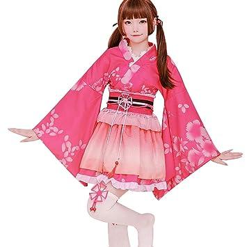 LJLis Yukata Kimono japonés Traje Pavo Flores Satén Albornoces ...