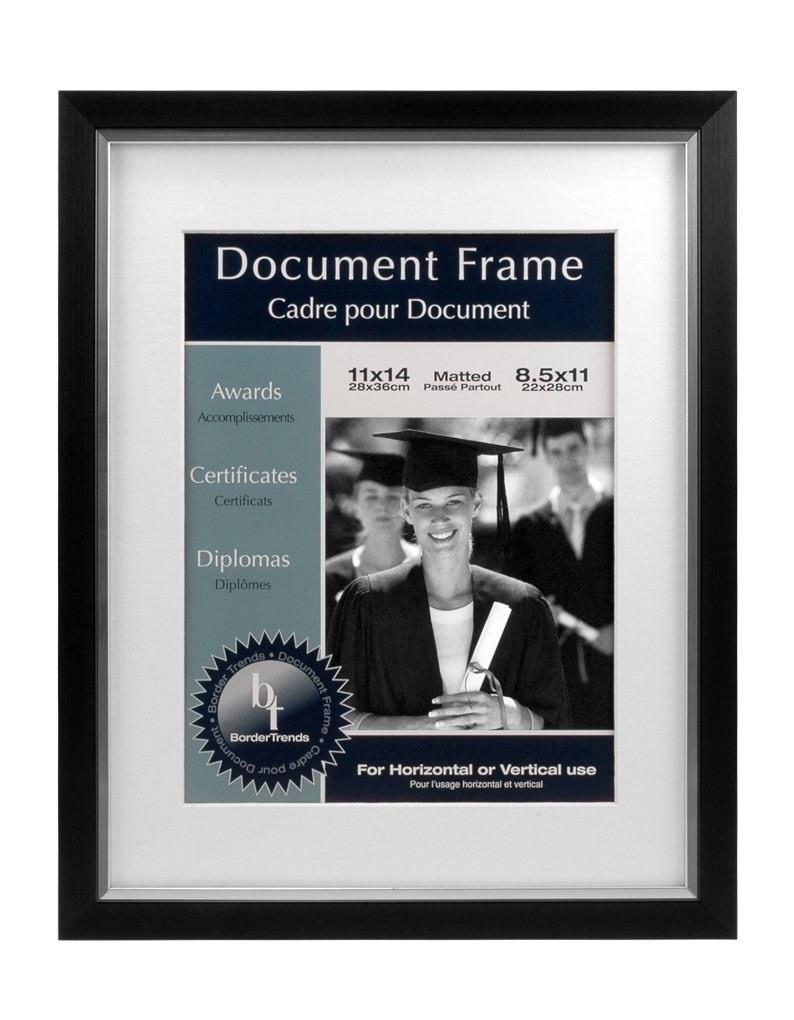 BorderTrends Legacy 11x14/8.5x11-Inch Photo or Document Frame, Black with White Mat