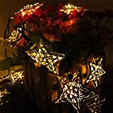 JOJOO Solar Powered 20 LED 16ft String Lights Metal Ornament LED Lights for Garden, Wedding, Party, Outdoor and Christmas, Amber (Warm white Stars 20LED)