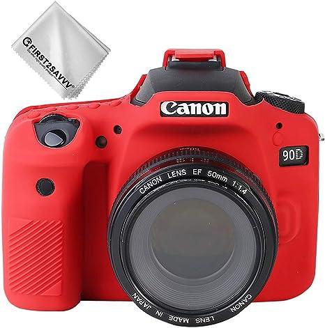 Rojo Cuerpo Completo Caucho de TPU Funda Estuche Silicona para cámara para Canon EOS 90D: Amazon.es: Electrónica
