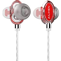 Ailihen X7 Earbuds with Microphone Dual Drivers Headphones (Red)
