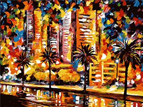 shukqueen bricolaje pintura al óleo, pintura por número kits de adulto, acrílico pintura paisaje abstracto 16x 20inch,...