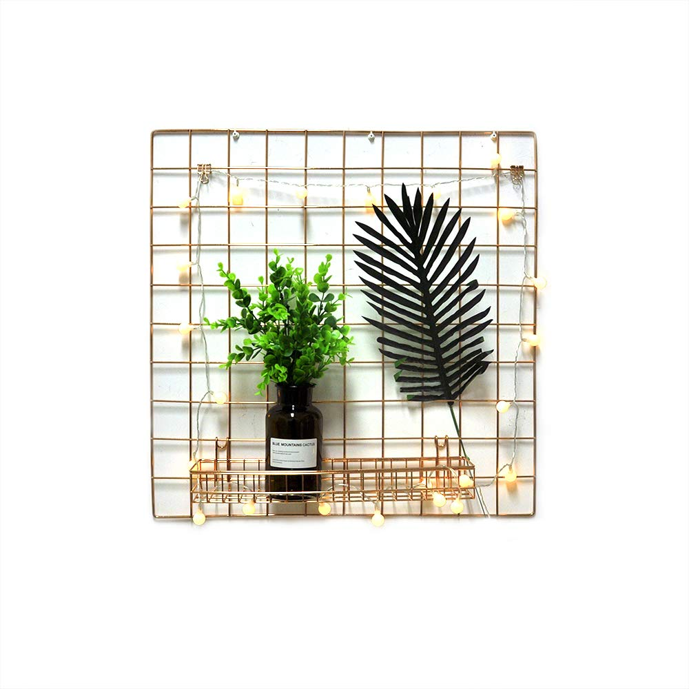 ANZOME Rose Gold Mesh Wall Metal Wire Basket, Grid Panel Hanging Tray, Wall Mount Organizer, Wire Storage Shelf Rack For Home Supplies, Wall Decor Size 15.7