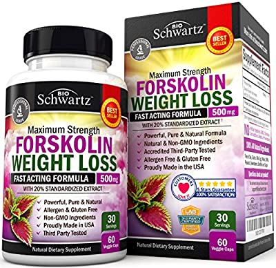 Why Choose BioSchwartz Forskolin Extract for Weight Loss? 100% SATISFACTION GUARANTEE: Lose weight with the Best Forskolin on the market or your money back! HIGHEST POTENCY FORSKOLIN PURE FOR FAST WEIGHT LOSS: Maximum Strength Pure Forskolin diet pil...