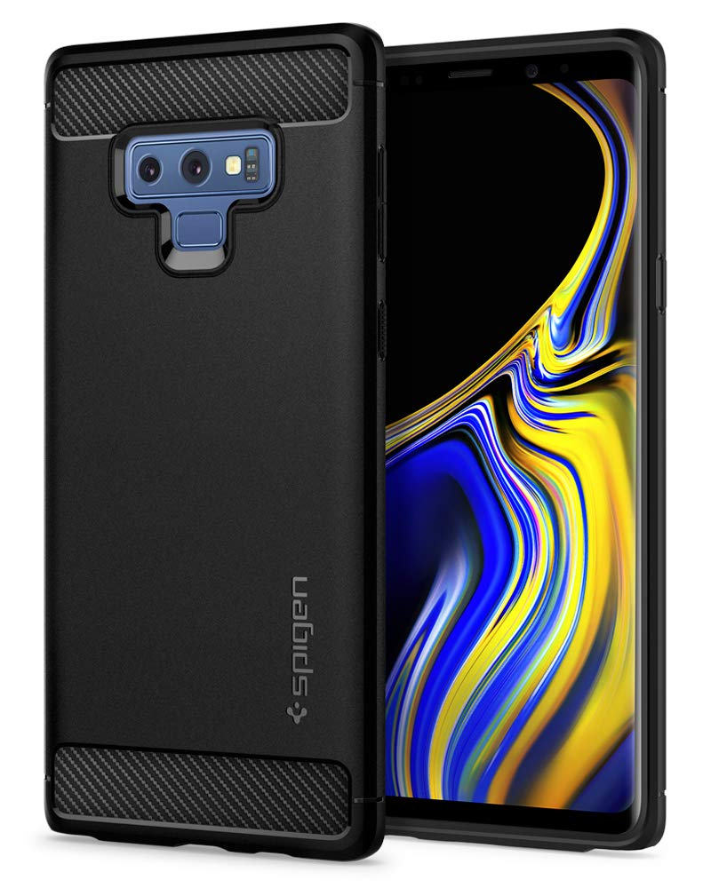 Spigen Rugged Armor Galaxy Note 9 Case with Resilient Shock Absorption and Carbon Fiber Design for Galaxy Note 9 (2018) - Matte Black