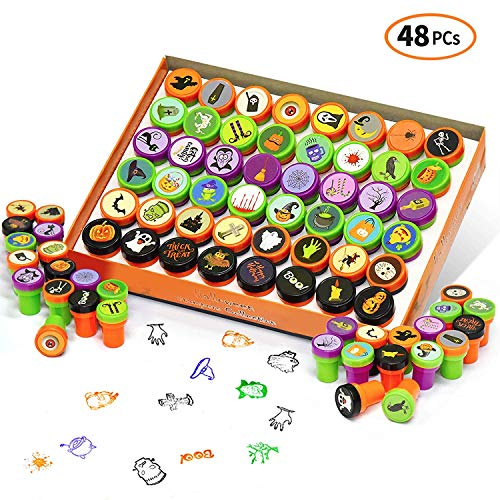 iFUNow 48 Pieces Halloween Stamps, Kids Self-Inking Stampers, 48 Designs for Halloween Toys, Halloween Games, Halloween Treats, Halloween Party Favors, Halloween Goodies, Halloween Prizes