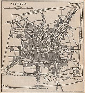PISTOIA Antique Town City Plan Piano Urbanistico. Italy Mappa. SMALL   1899    Old