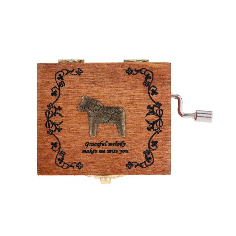 Andoer® Retro Wooden Musical Box Hand Crank Music Box Exquisite Workmanship 4 Patterns for Option
