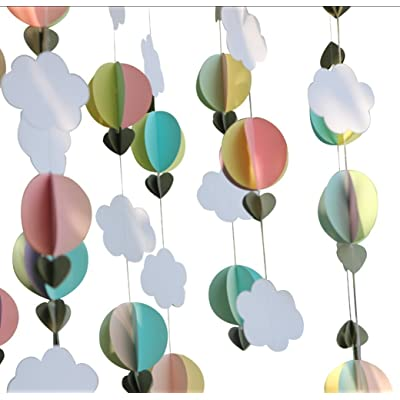 Mybbshower Pastel 3D Clouds Hot Air Balloons Garland Birthday Party Home Nursery Room Decorations Up Up and Away Photo Prop 5 pcs: Home & Kitchen