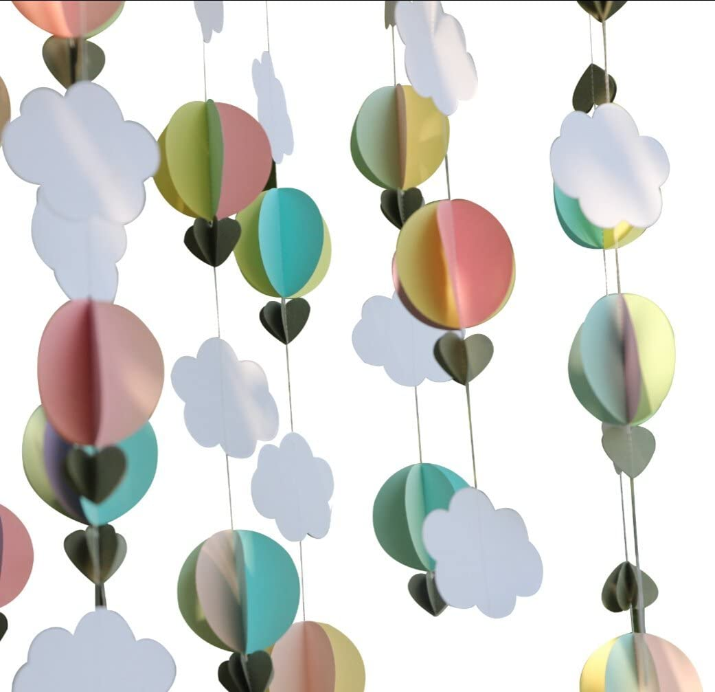 Mybbshower Pastel 3D Clouds Hot Air Balloons Garland Birthday Party Home Nursery Room Decorations Up Up and Away Photo Prop 5 pcs