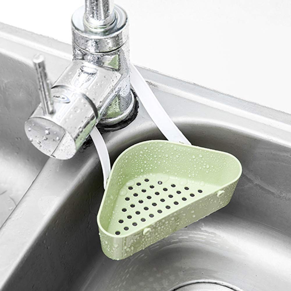HHmei_Home Useful Sink Shelf Soap Sponge Drain Rack| Necessary for Bathroom Holder Kitchen Storage Tool Green