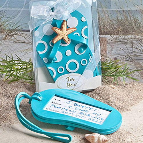 (Fashion Craft 4763 Flip Flop Luggage tag Favors, Blue )