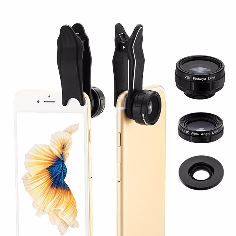 Phone Camera Lens Kit - BlitzWolf 3 in 1 Universal Phone Lens 230 ° Fisheye Lens + 0.63X Wide Angle Lens + 15X Macro Lens with Clip for iPhone 7 7 plus 6s plus 6s 6 5s Samsung Galaxy s8 Android Smartphone