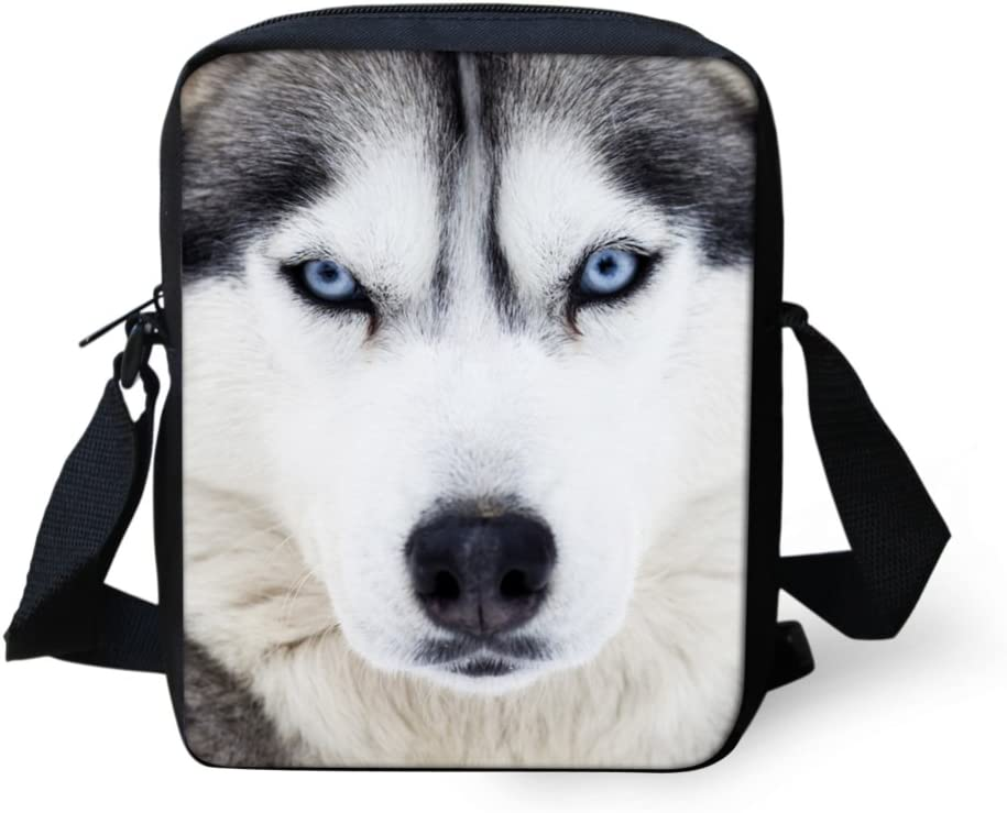 Showudesigns Cool Husky Pattern Small Travel Messenger Bags Single Shoulder Bags
