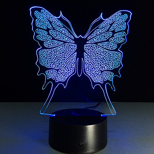 ️ Yu2d ❤️❤️ ️3D Illusion Visual Night Light 7 Colors Change LED Desk Lamp Bedroom Home -