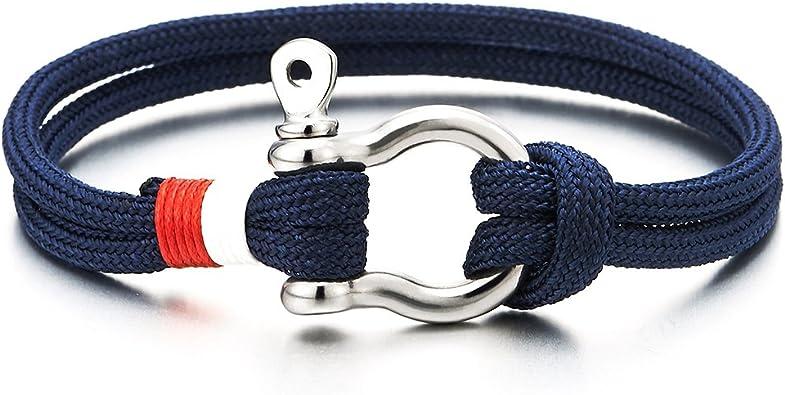 Cuir sur Cordon Nautique Marin Envelopper Bracelet COOLSTEELANDBEYOND Acier Bracelet Vis Manilles dancrage Homme Femme
