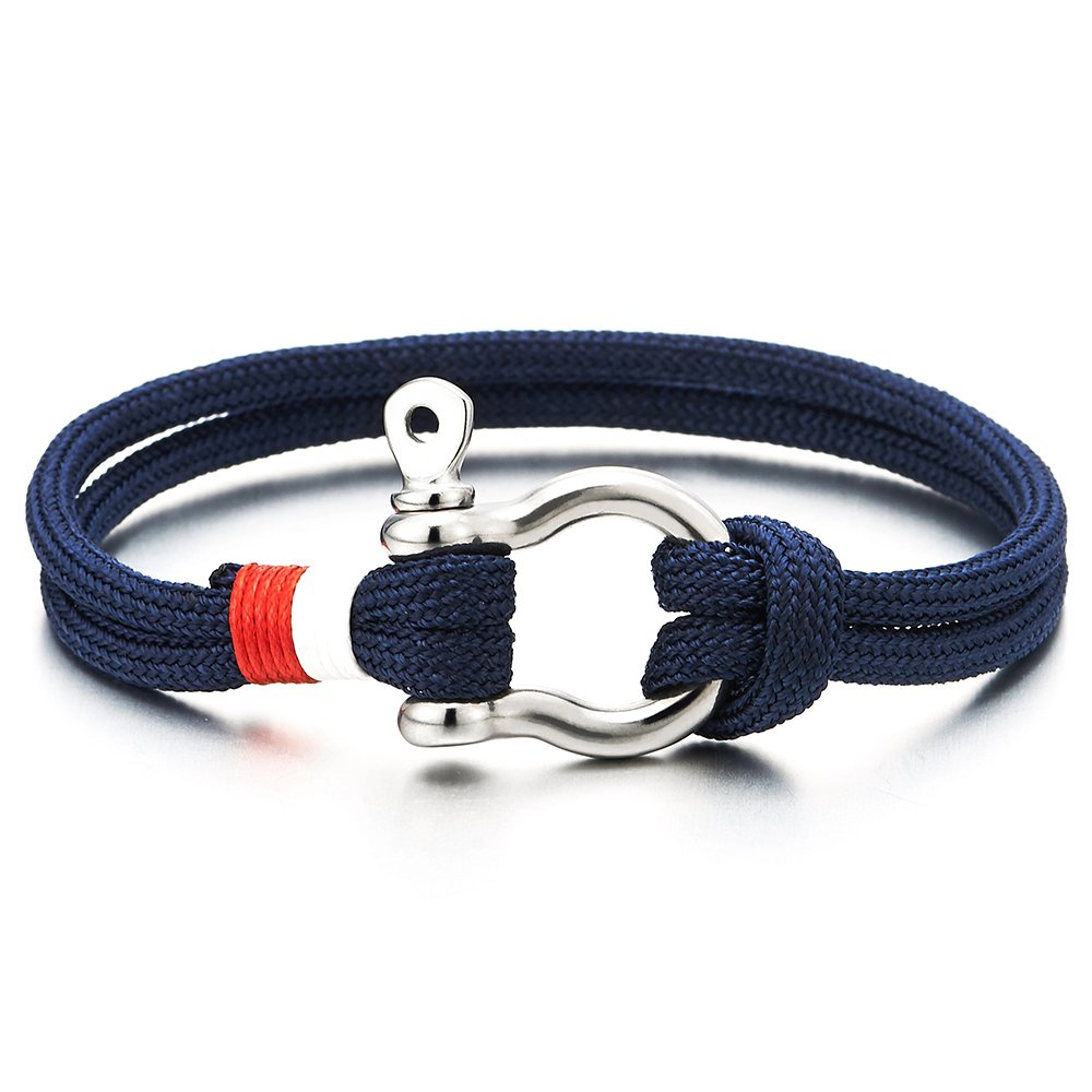 COOLSTEELANDBEYOND Mens Womens Steel Screw Anchor Shackles Sailor Nautical Navy Blue Rope Cord Wrap Bracelet Wristband