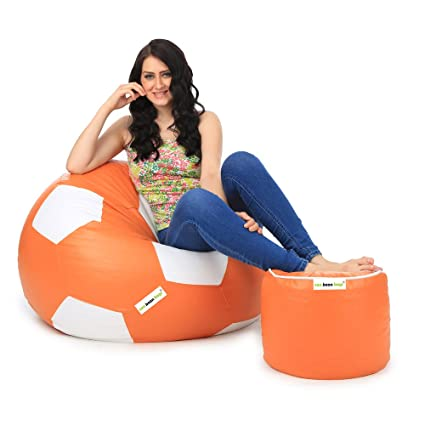 Can Football XXL Bean Bag and Pouffe with Beans  Orange and White  Filled Bean Bags