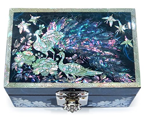 MADDesign Jewelry Watch Box Ring Organizer Hand Made Mother of Pearl Sea Shell Inlay Mirror Lid Peacock - Watch Jewelry Wedding Ring