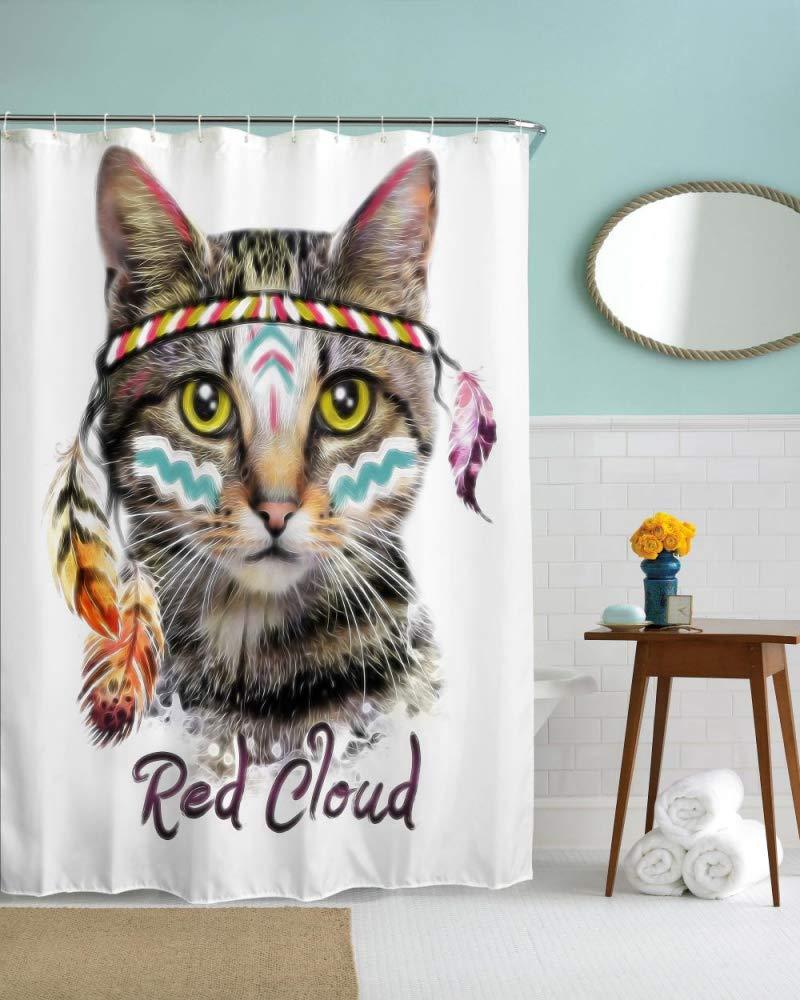 XmnaZr Zähne, die Fett-Katze-Wasser-Beweis Polyester-Duschvorhang 3D ...
