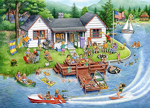 Puzzle 1000 House Piece (Vermont Christmas Company Lake House Jigsaw Puzzle 1000 Piece)