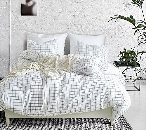 (PinkMemory Grid Duvet Cover Queen Bedding Set for Teens Adult White Grid Duvet Cover with Standard Pillow Sham Breathable Zipper Closure Comforter Fixing Ties)