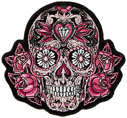 Hot Leathers Pink Sugar Skull and Roses Patch (Multicolor, 4