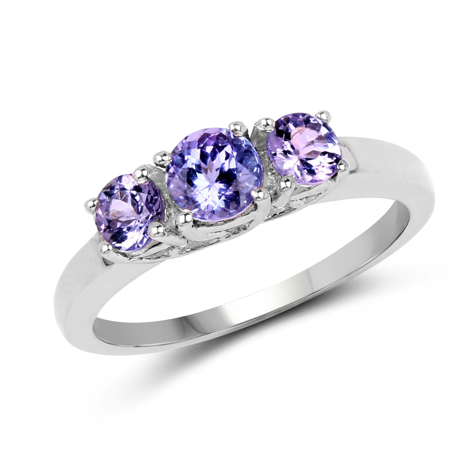 0.90 Carat Genuine Tanzanite .925 Sterling Silver 3-Stone Ring